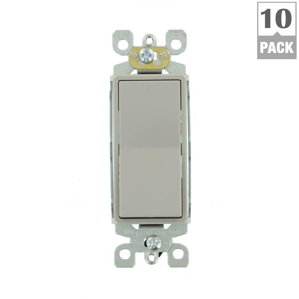 Leviton decora 15 amp 3 way rocker switch gray 10 pack vg2 leviton decora 15 amp 3 way rocker switch gray 10 pack sciox Choice Image