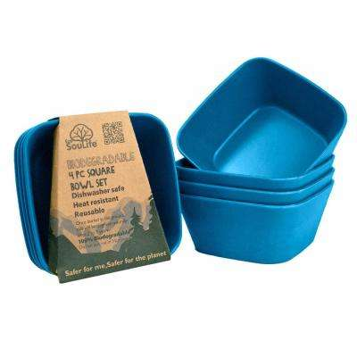 4- Piece 20 oz. Navy Square Bowl Bamboo (2-Pack)