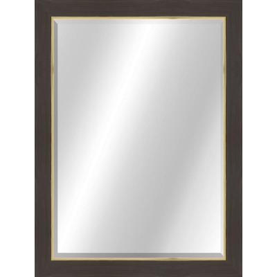 Transitional 22 x 28 Rustic Brown with Gold Framed Vanity Mirror