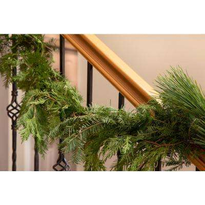 8 ft. Live Roping Garland, Fresh Cut Mixed Greens, Holiday Decor
