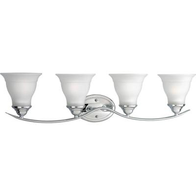 Trinity 4-Light Chrome Bathroom Vanity Light with Glass Shades
