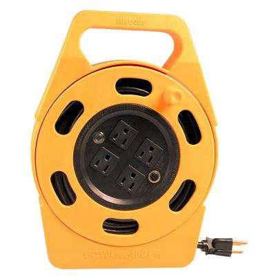 25 ft. 16/3 Outdoor Multi-Outlet (4) Portable Extension Cord Reel Power Station