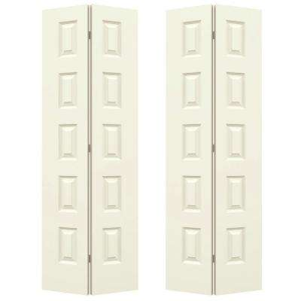 72 in. x 80 in. Rockport Vanilla Painted Smooth Molded Composite MDF Closet Bi-fold Door