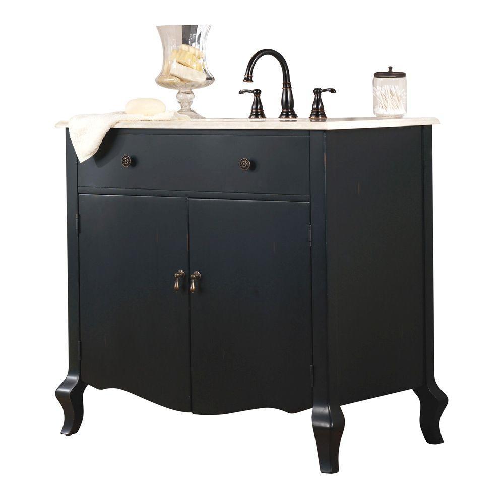 Home Decorators Collection Camille 36 in. W Vanity in Antique Black with Vanity Top in Beige