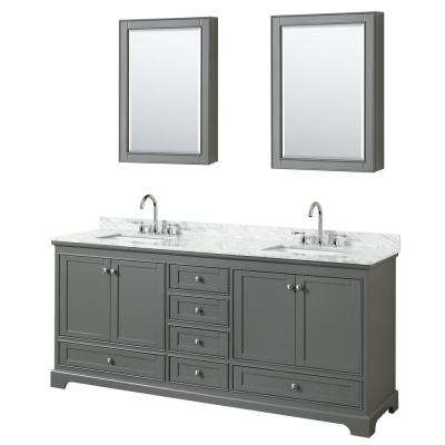 79.75 in. W x 22 in. D Vanity in Dark Gray with Marble Vanity Top in Carrara White with White Basin and Medicine Cabinet