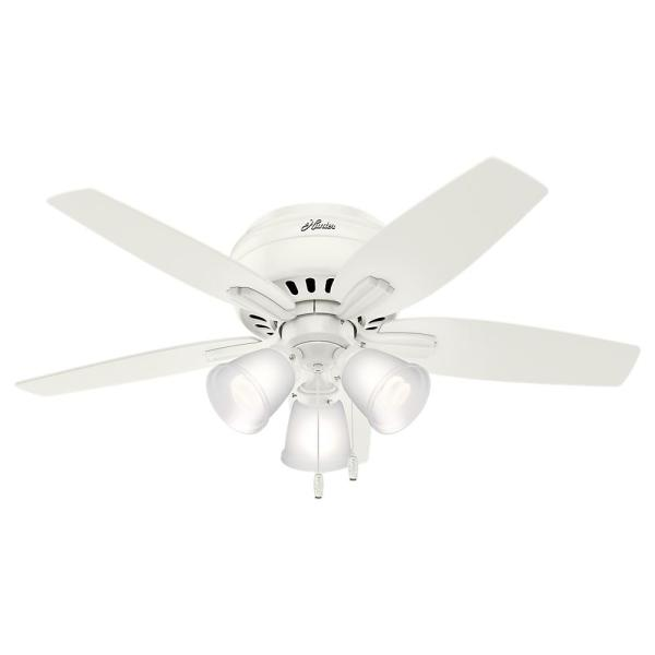 Hunter Newsome 42 In Led Indoor Low Profile Fresh White Ceiling Fan With 3 Light Kit 51077 The Home Depot
