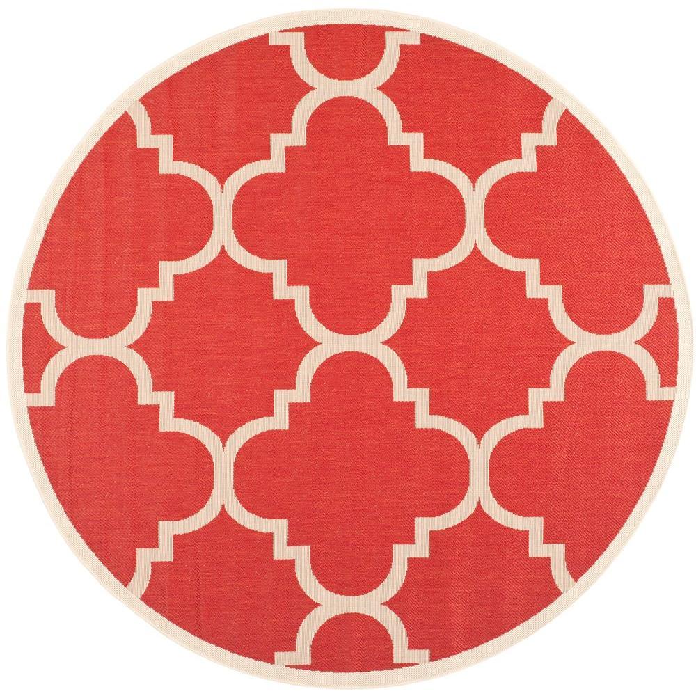 Safavieh Courtyard Red 6 ft. 7 in. x 6 ft. 7 in. Indoor/Outdoor Round Area Rug