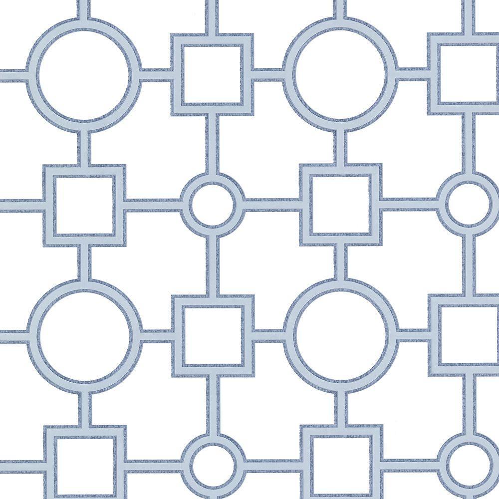 Brewster Geovine Blue Geometric Wallpaper Sample 2686-20277SAM
