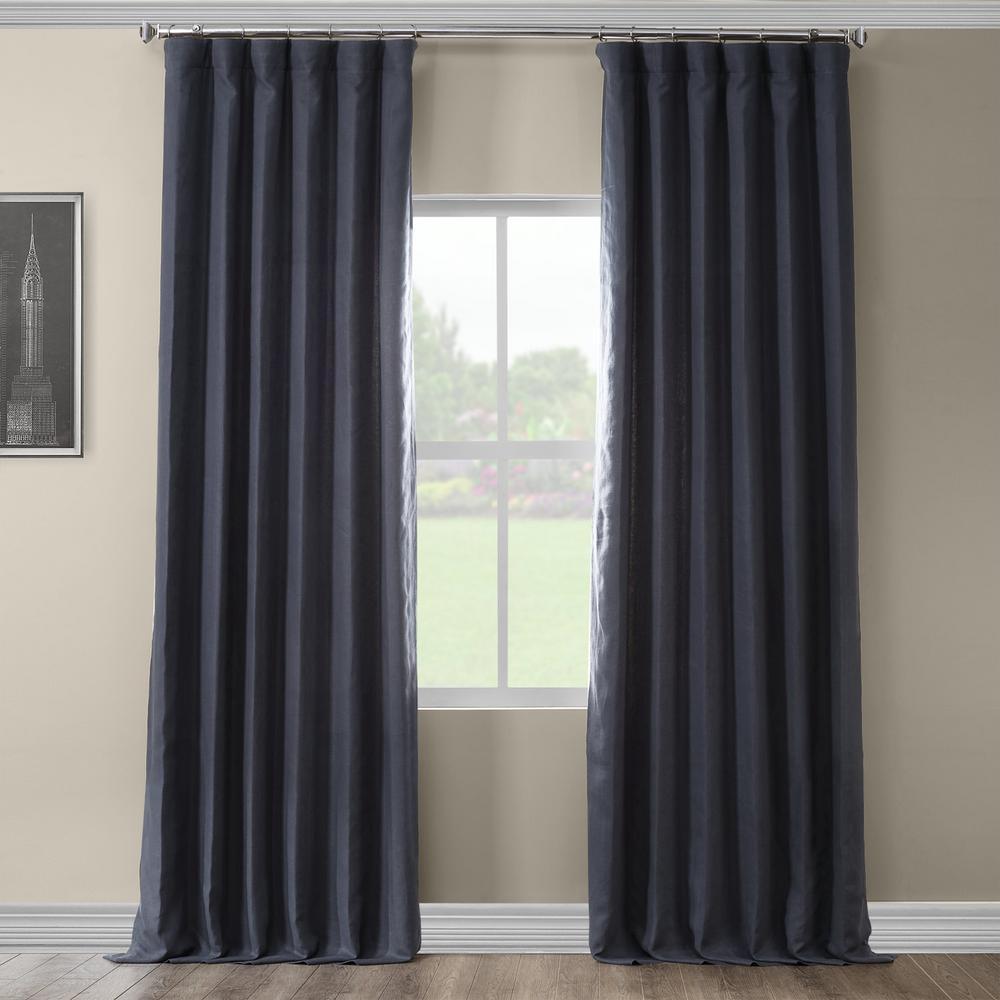 True Navy Blue French Linen Curtain - 50 in. W x 84 in. L