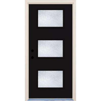 36 in. x 80 in. Right-Hand Inkwell 3 Lite Rain Glass Painted Fiberglass Prehung Front Door with Brickmould