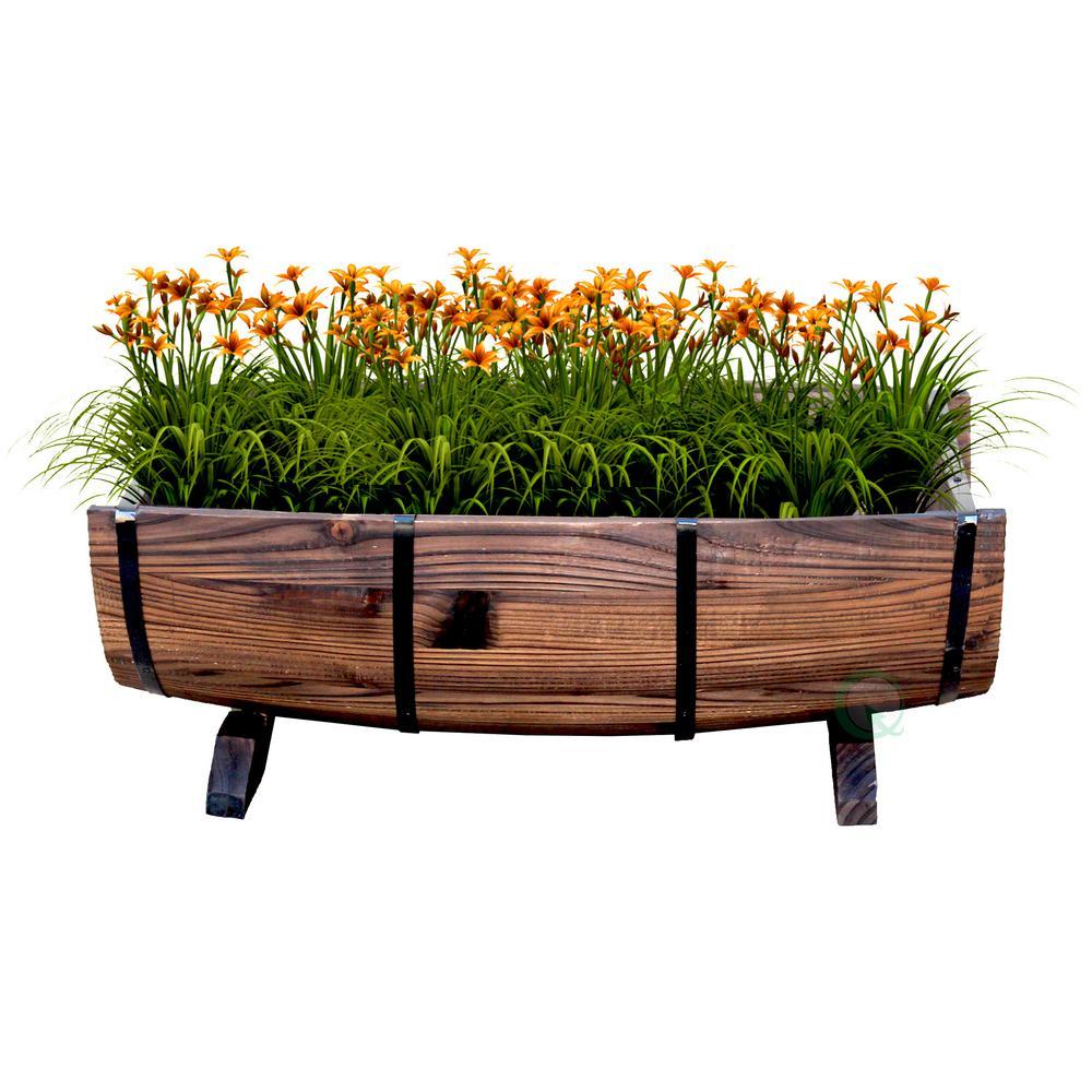 Half Barrel Garden Planter - Large, Brown Large