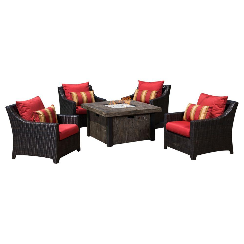 Deco 5-Piece Patio Fire Pit Seating Set with Cantina Red Cushions