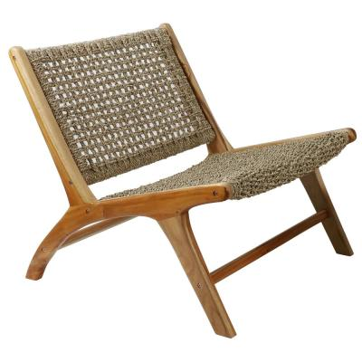 London Woven Natural Sea Grass Side Chair with Teak Wood Frame
