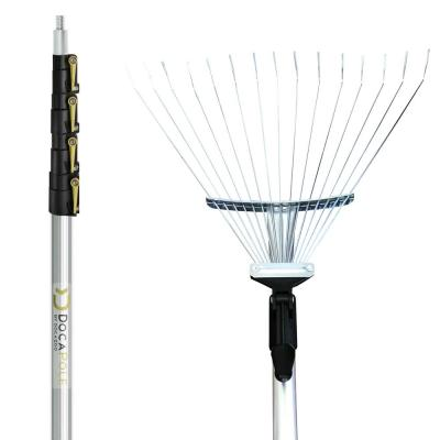 6 ft. - 24 ft. Extension Pole + Roof Rake Telescopic Adjustable Roof Rake for Cleaning Leaves, Sticks & Debris from Roof