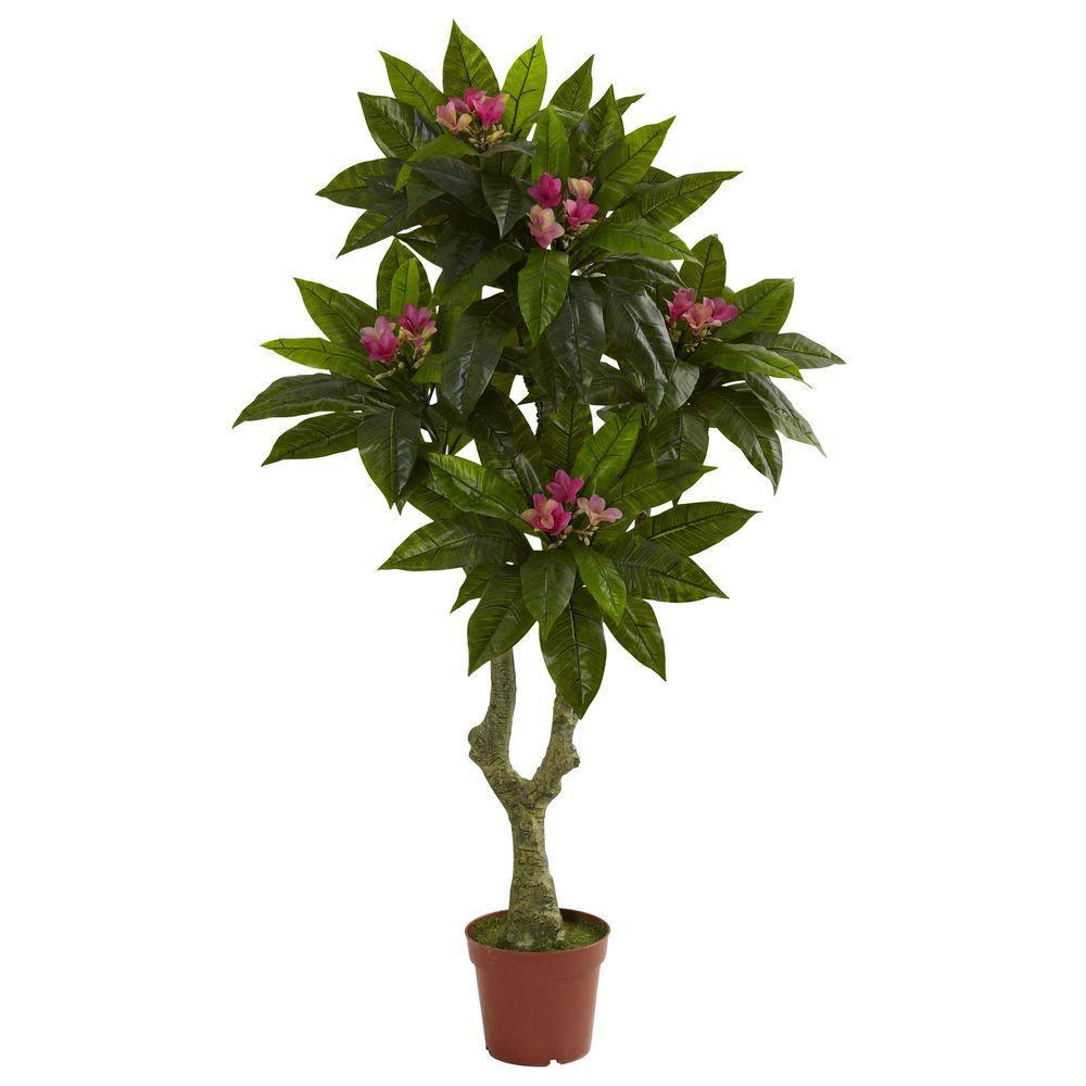 Nearly Natural 5 ft. UV Resistant Indoor/Outdoor Plumeria Tree-5394 - The Home Depot
