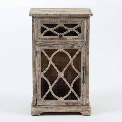 Natural Rustic Wood and Metal Console Cabinet