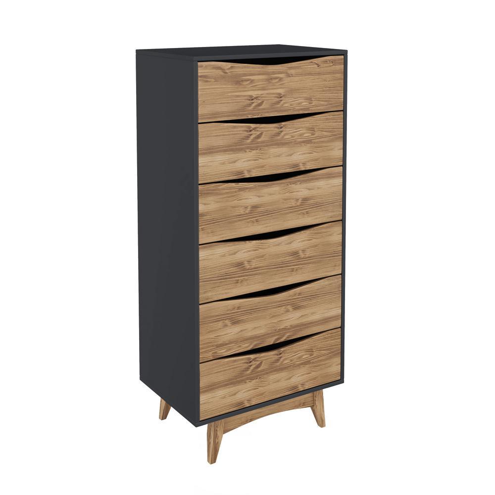 Manhattan Comfort Hamilton 53 54 In Tall 6 Drawer Dark Grey And Wood Dresser
