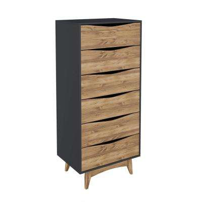 Hamilton 53.54 in. Tall 6-Drawer Dark Grey and Wood Dresser