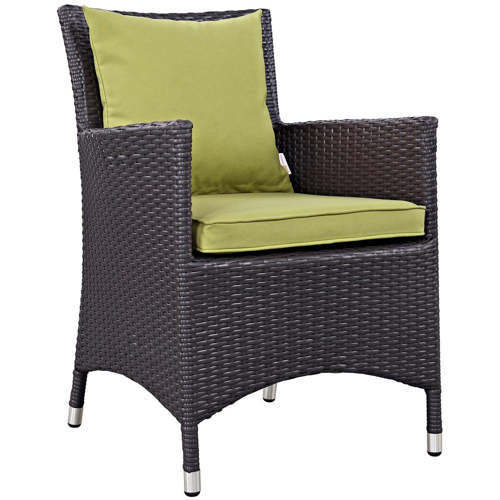 Convene Wicker Outdoor Patio Dining Chair in Espresso with Peridot Cushions