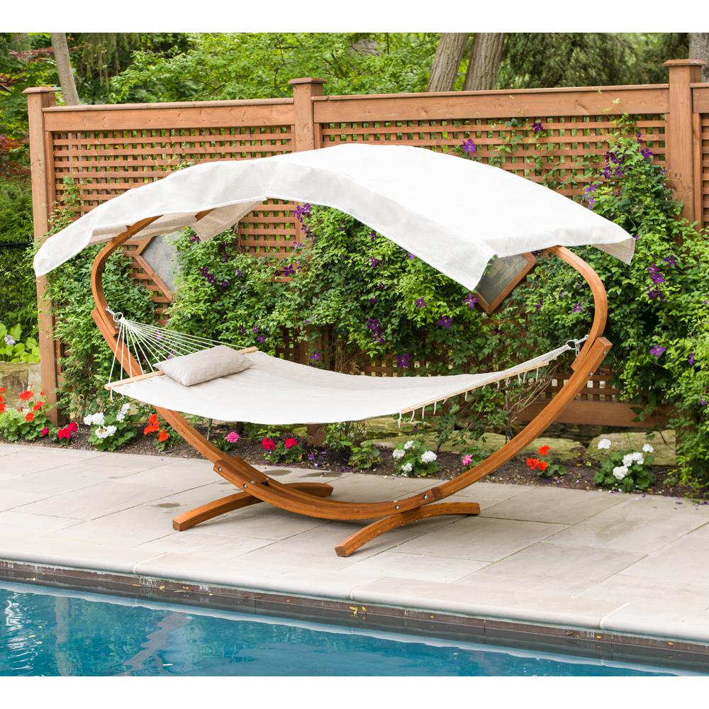 Wooden Art Deco Hammock Stand With Hammock And Canopy