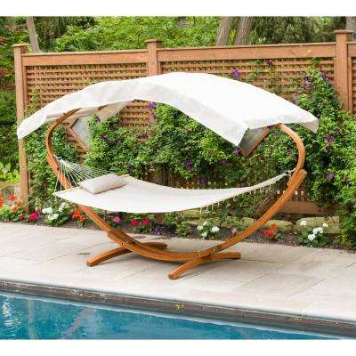 6.5 ft. Wooden Art Deco Hammock Stand with Hammock and Canopy