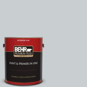 Behr Premium Plus 1 Gal 760e 2 Manhattan Mist Flat Exterior Paint And Primer In One 405001 The Home Depot