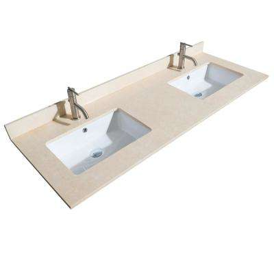 Acclaim 60 in. W x 22 in. D Marble Double Basin Vanity Top in Beige with White Basin