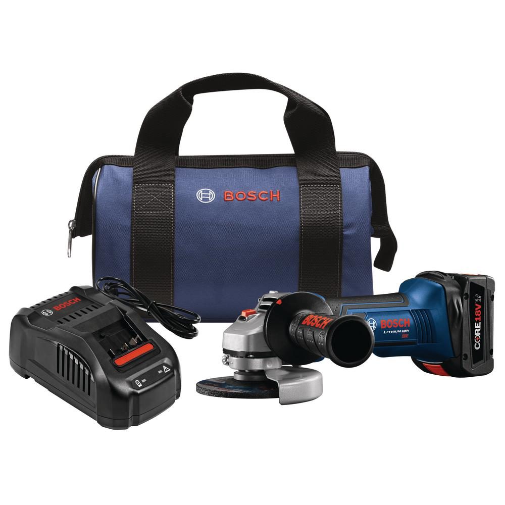 18-Volt Lithium-Ion Cordless Electric 4.5 in. Angle Grinder Kit with 6.3