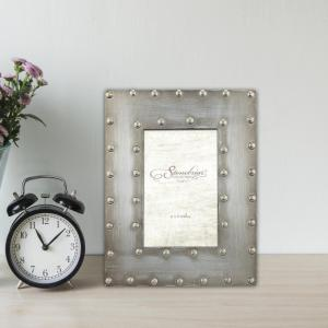 1-Opening 4 in. X 6 in. Silver with Rivet Detail Picture Frame