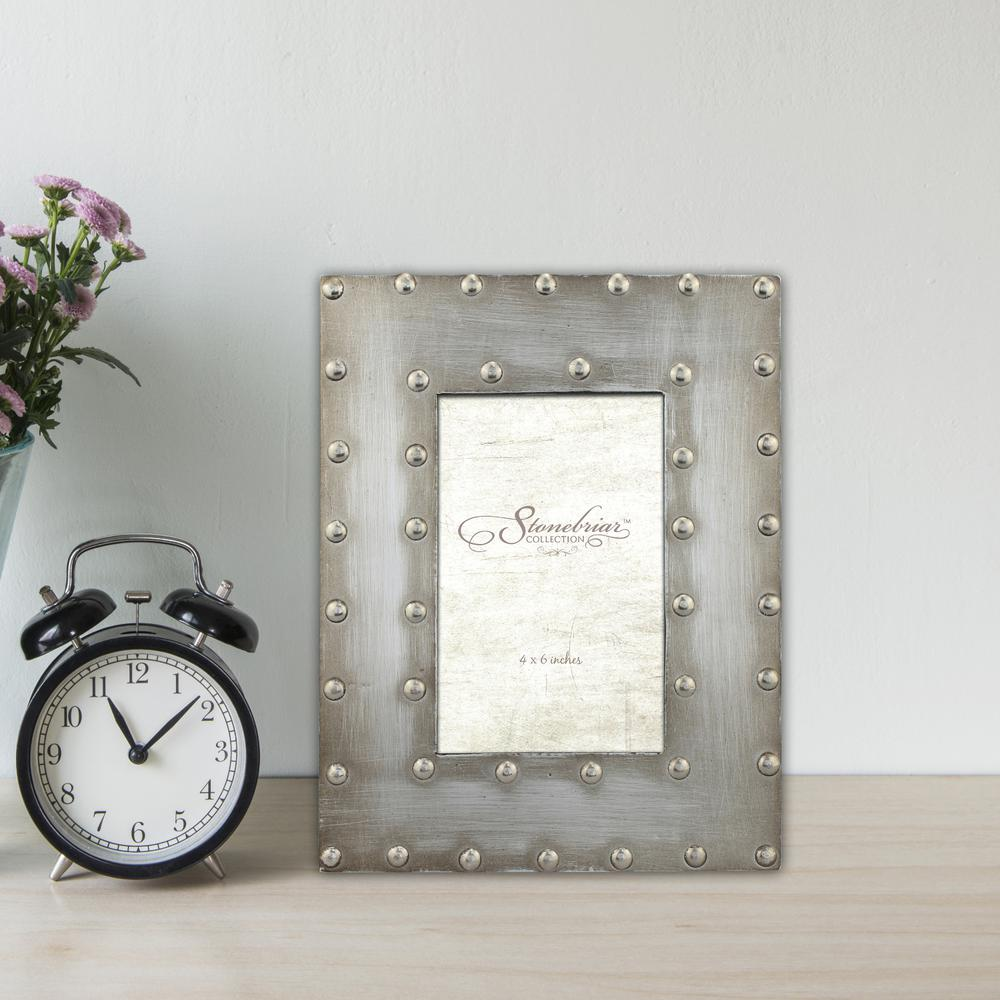 Stonebriar Collection 1-Opening 4 in. X 6 in. Silver with Rivet Detail  Picture Frame
