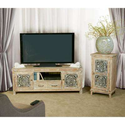 Hundley Distressed Whitewash Entertainment Console