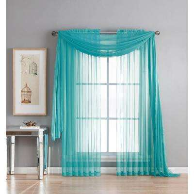 Diamond Sheer Voile 56 in. W x 216 in. L Curtain Scarf in Turquoise