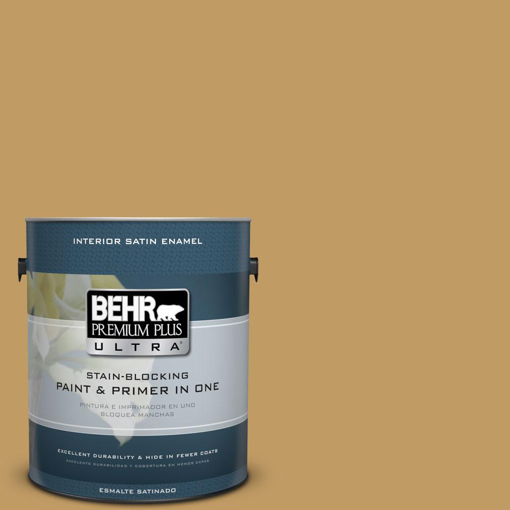 1 gal. #340F-6 Mojave Gold Satin Enamel Interior Paint and Primer