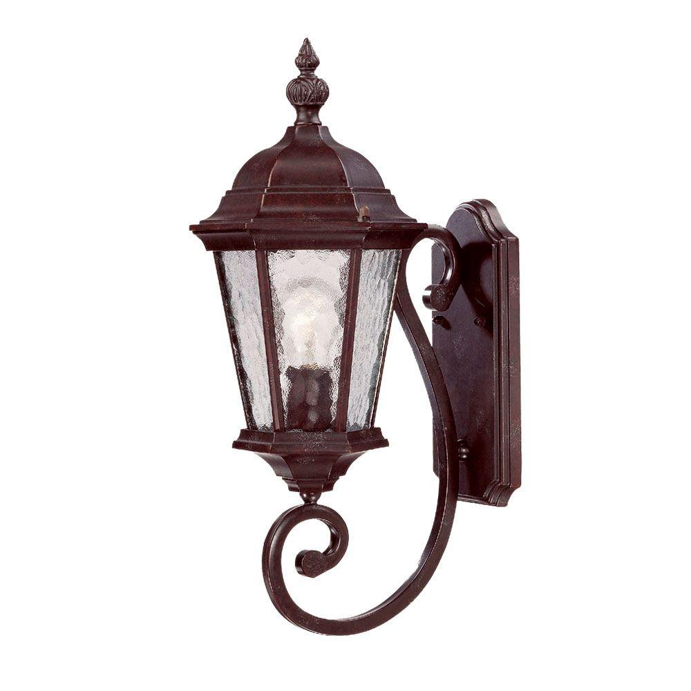 Telfair Collection Wall-Mount 1-Light Marbleized Mahogany Outdoor Light Fixture