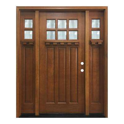 64 in. x 80 in. Craftsman Bungalow 6 Lite Left-Hand Inswing Wheat Stained Wood Prehung Front Door 12 in. Sidelites