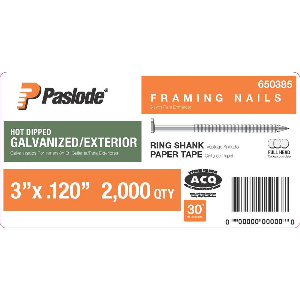 Paslode 3 in. x 0.120-Gauge 30° Galvanized Ring Shank Paper Tape Framing Nails (2000 per Box)