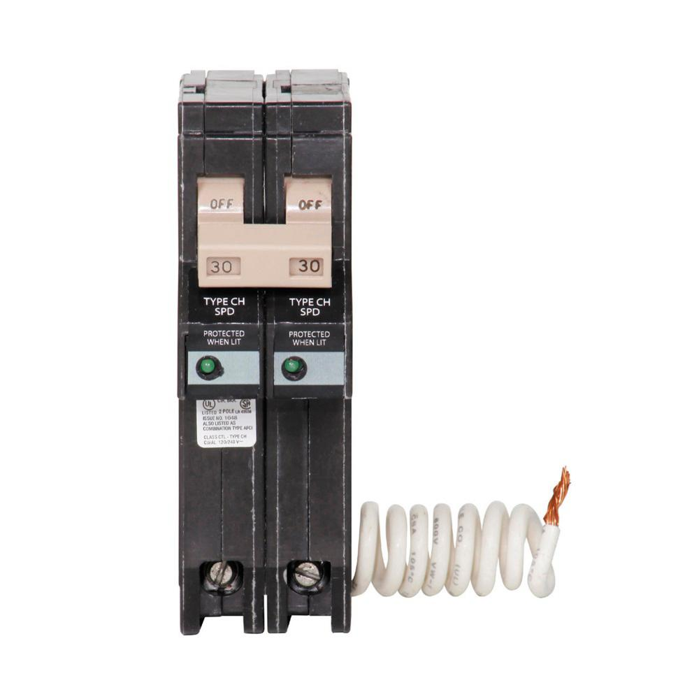 Murray 30 Amp Double Pole Type Mp Circuit Breaker Mp230u The Home Split Wiring Diagram Ch 2 With Surge Protection