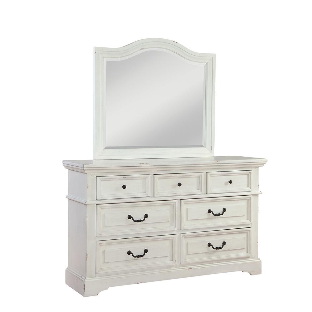 Stonebrook 7-Drawer Antiqued White Dresser and Mirror