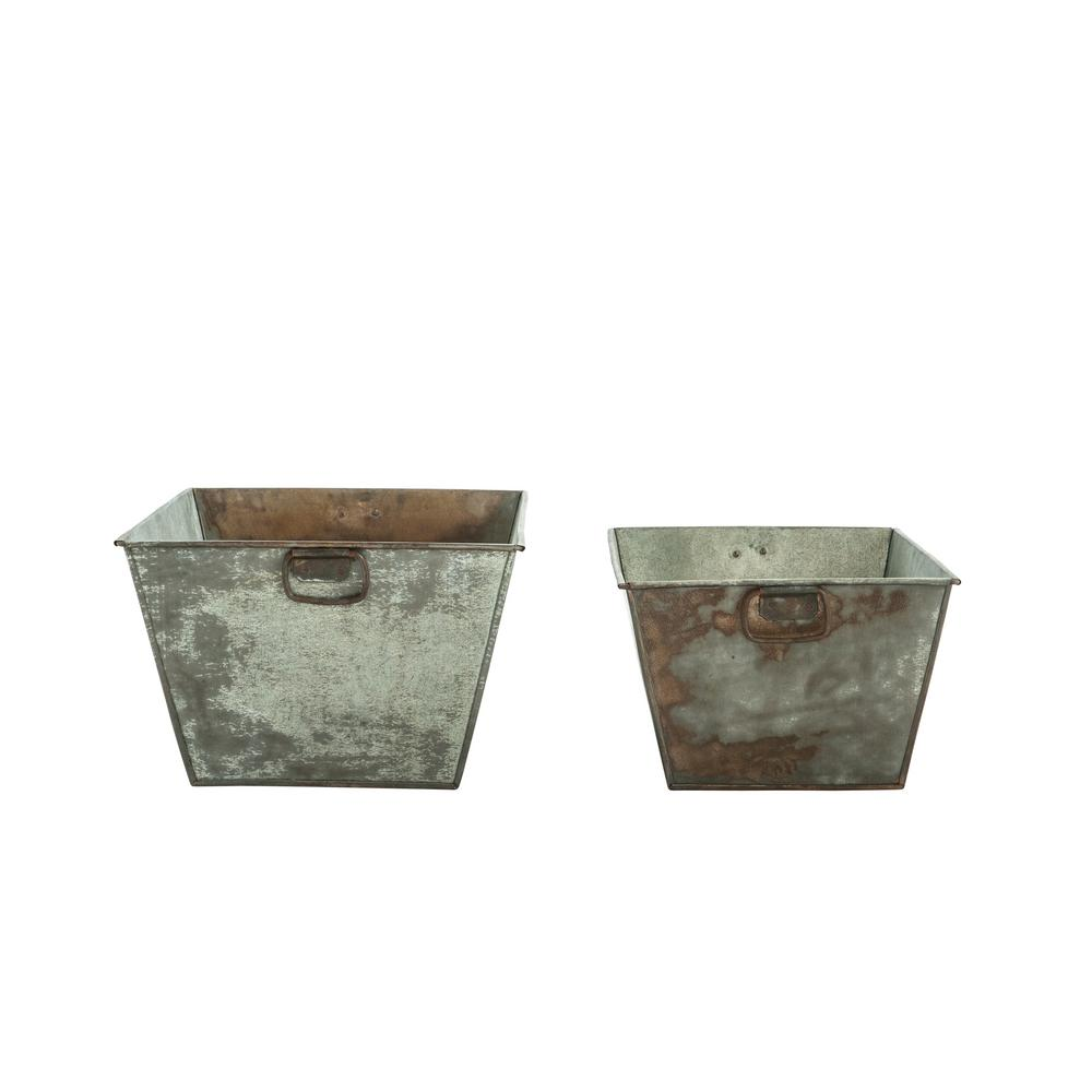 11 in. H Grey Metal Planters (2-Pack)