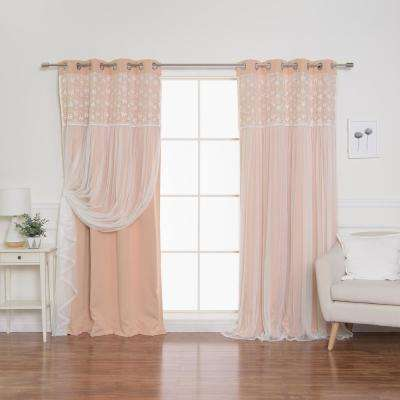 Indie Pink 84 in. L Irene Lace Overlay Blackout Curtain Panel  (2-Pack)