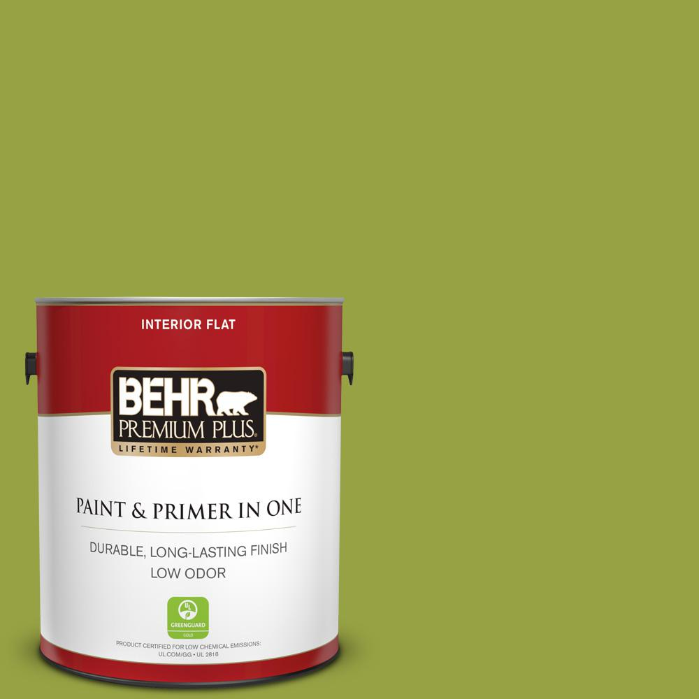Behr Premium Plus 1 Gal P360 6 Fresh Apple Flat Low Odor Interior Paint And Primer In One 130001 The Home Depot