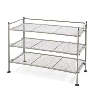 Satin Pewter 3-Tier Iron Mesh Utility Shoe Rack