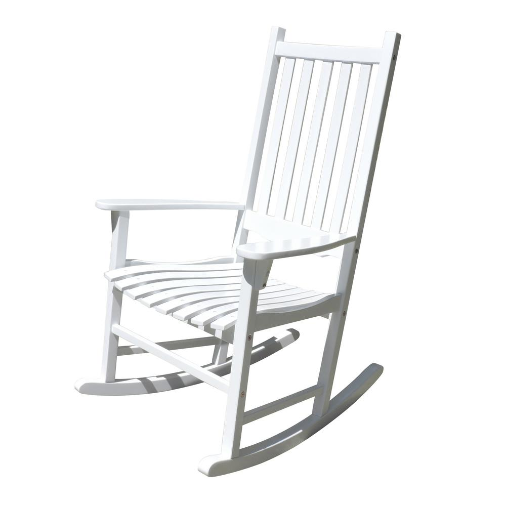 northbeam white acacia wood outdoor rocking chair mpg pt 41110wp the home depot. Black Bedroom Furniture Sets. Home Design Ideas
