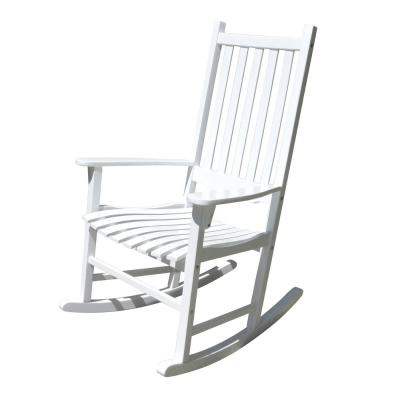 White Acacia Wood Outdoor Rocking Chair