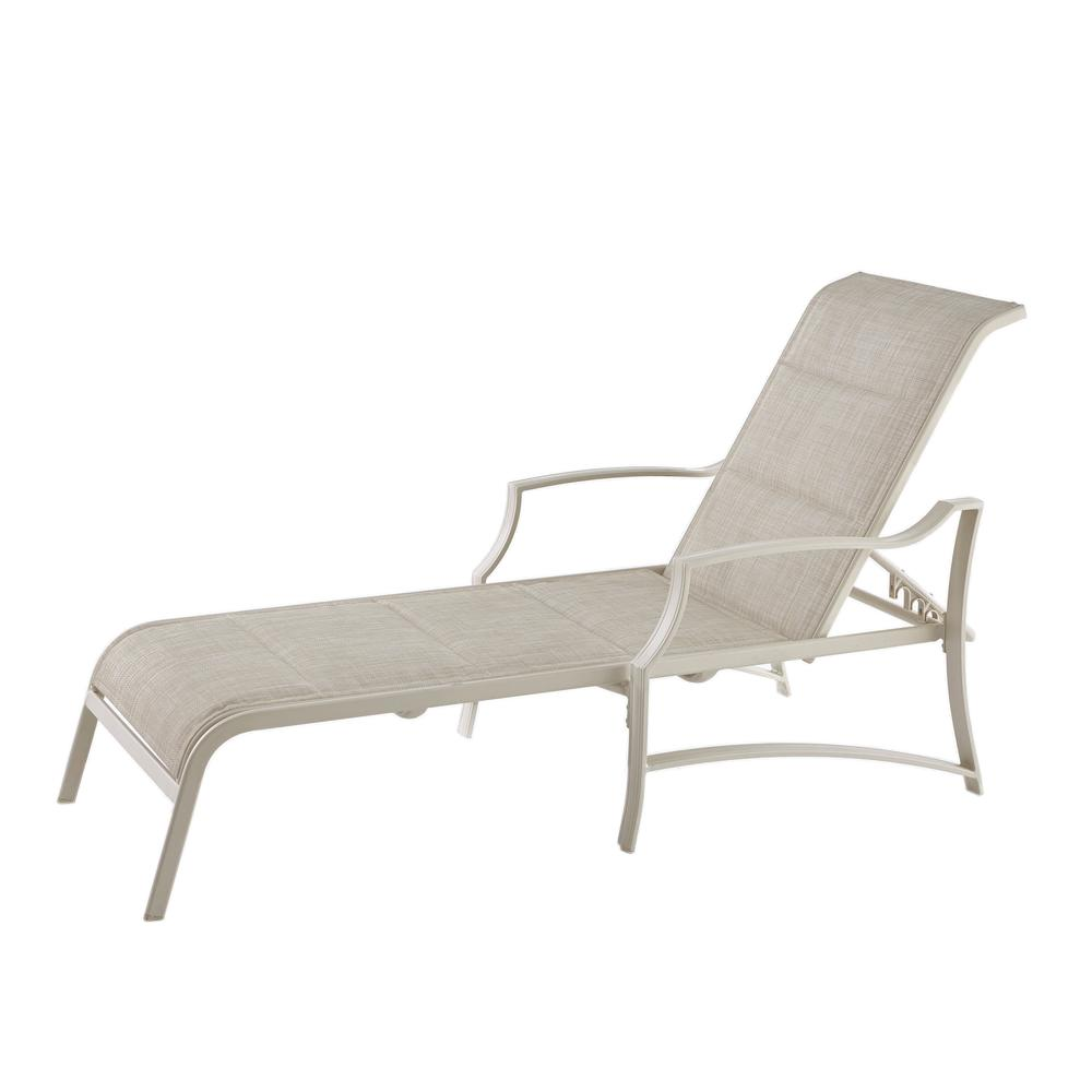 Hampton bay statesville shell aluminum outdoor chaise for Chaise lounge aluminum