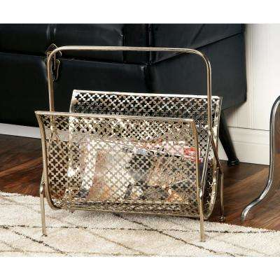 Gold Metallic Metal Freestanding Magazine Rack