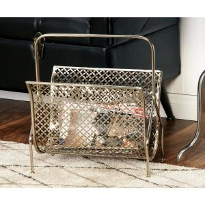 Click here to buy  Gold Metallic Metal Freestanding Magazine Rack.