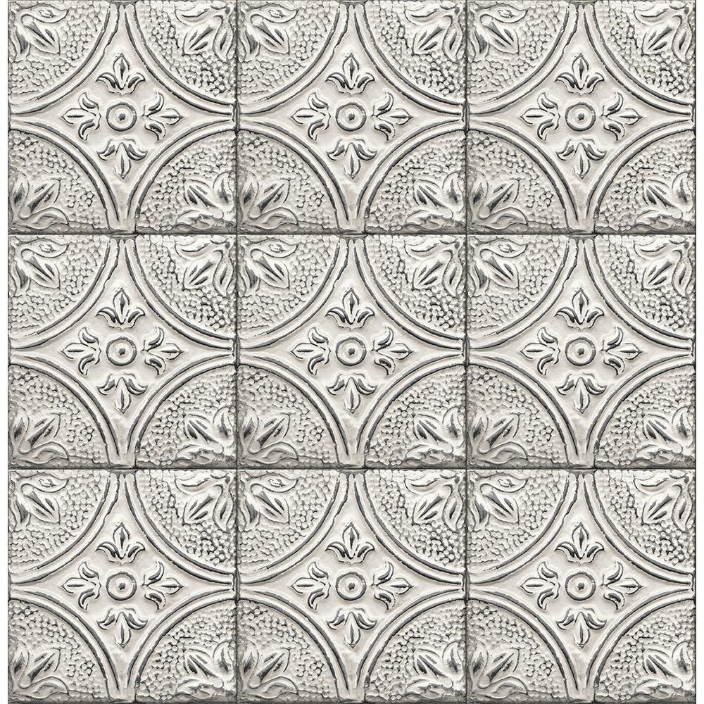 56.4 sq. ft. Brasserie Silver Tin Ceiling Tile Wallpaper