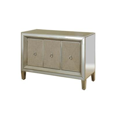 Antique Silver Accent 3-Door Mirrored Cabinet