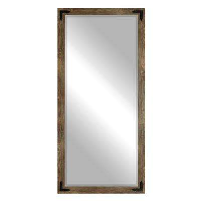 Layla Justine Rectangle Brown Barnwood Floor Mirror
